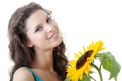 Portrait of a Beautiful girl with sunflower Stock Photo