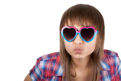 Portrait beautiful girl in sunglasseses Royalty Free Stock Image