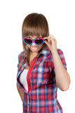 Portrait beautiful girl in sunglasseses shows Stock Photo