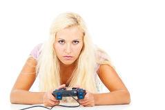 Portrait of a girl playing a video game Stock Images
