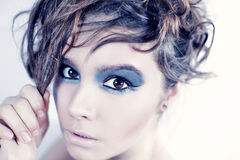 Portrait of beautiful girl with trendy makeup Royalty Free Stock Photography