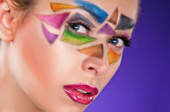 Portrait of beautiful girl with triangles on the face Stock Photos