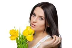 Portrait of beautiful girl with tulips Royalty Free Stock Photos