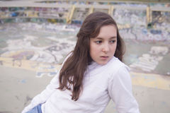 Portrait of beautiful girl in a urban space Royalty Free Stock Image