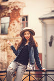 Portrait of a beautiful girl in a urban style Stock Photography