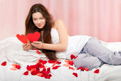 Portrait of a beautiful girl with a valentine Royalty Free Stock Images