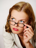 Portrait of beautiful girl wearing glasses Royalty Free Stock Photography