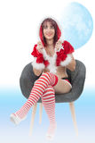 Portrait of beautiful girl wearing santa claus clothes Stock Images