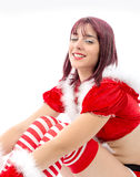 Portrait of beautiful girl wearing santa claus clothes Royalty Free Stock Image