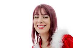 Portrait of beautiful girl wearing santa claus clothes Royalty Free Stock Images