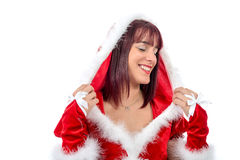 Portrait of beautiful girl wearing santa claus clothes Stock Image