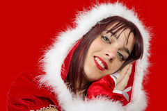 Portrait of beautiful  girl wearing santa claus clothes Royalty Free Stock Photography