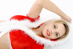 Portrait of beautiful girl wearing santa claus clothes Royalty Free Stock Photos