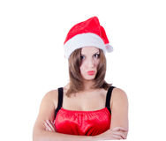 Portrait of beautiful girl wearing Santa Claus hat Stock Photos