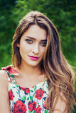 Portrait of beautiful girl wearing trendy outfit. Summer fashion Stock Photography
