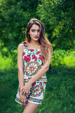 Portrait of beautiful girl wearing trendy outfit. Summer fashion Stock Images