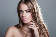 Portrait of a beautiful girl with wet hair Royalty Free Stock Photo