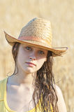 Portrait of beautiful girl in wheat field Royalty Free Stock Photo