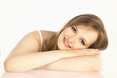 Portrait of a beautiful girl on white background Royalty Free Stock Photo