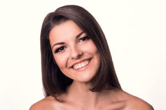 Portrait of a beautiful girl on a white background Royalty Free Stock Photography