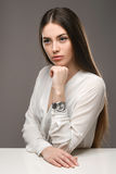 Portrait beautiful girl in white blouse and black skirt Royalty Free Stock Photos