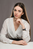 Portrait beautiful girl in white blouse and black skirt Royalty Free Stock Images