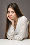 Portrait beautiful girl in white blouse and black skirt Stock Photography