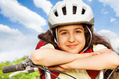 Portrait of beautiful girl in white helmet Royalty Free Stock Image