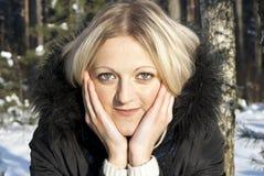 Portrait of a beautiful girl winter. Portrait of a beautiful girl in the winter in nature Stock Photo