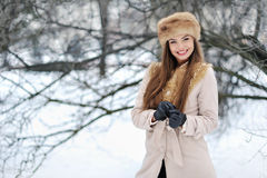 Portrait of beautiful girl in winter Royalty Free Stock Photo