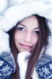 Portrait of the beautiful girl in winter. Landscape Royalty Free Stock Image