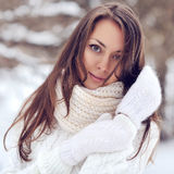 Portrait of a beautiful girl in the winter Royalty Free Stock Photography