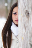 Portrait of the beautiful girl in winter forest Stock Photography