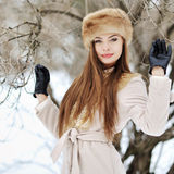 Portrait of a beautiful girl in winter Royalty Free Stock Photography