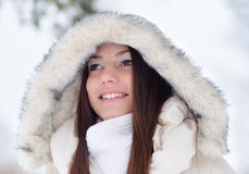 Portrait of the beautiful girl in winter Stock Photo