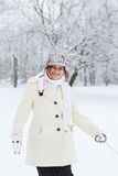 Portrait of beautiful girl with winter and snow background, outd Stock Photography