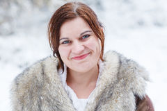 Portrait of beautiful girl with winter and snow background, outd. Oors Stock Photo