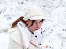 Portrait of beautiful girl with winter and snow background, outd. Oors Royalty Free Stock Photo