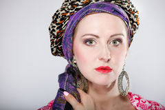 Portrait beautiful girl woman in a turban Stock Image