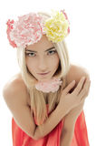 Portrait of beautiful girl with wreath of flowers stock photography
