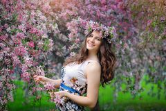 Portrait of beautiful girl with wreath, spring Royalty Free Stock Image