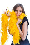 Portrait of the beautiful girl with yello feathers Stock Photo
