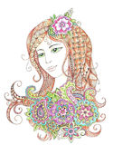 Portrait of a beautiful girl in zentangle style. Hand drawn color portrait of a beautiful girl in zentangle, doodling style. Illustration isolated on white Stock Images