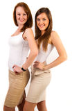 Portrait of beautiful girls posing on white backgr Stock Photo
