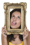 Portrait of beautiful girls and vintage frame Royalty Free Stock Photo