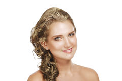 Portrait of beautiful golden hair woman on white background. Stock Image