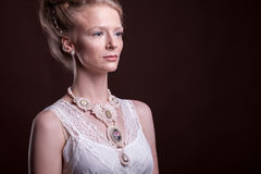 Portrait of Beautiful gorgeous woman in victorian style Royalty Free Stock Photo