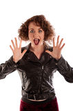 Portrait of a beautiful gothic woman in black leather jacket Stock Photo