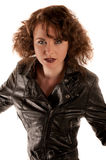 Portrait of a beautiful gothic woman in black leather jacket Stock Image