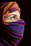 Portrait of beautiful green-eyed woman in hijab Royalty Free Stock Images